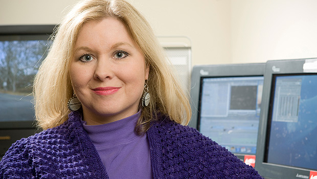 Wake Forest communication professor and filmmaker Mary Dalton in an editing room in the basement of Carswell Hall.