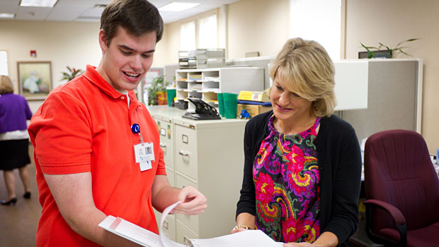 Jay Lowrey worked with volunteer coordinator Marinda Mawell during his internship at Hospice & Palliative Care in Winston-Salem to launch a Life Review program where patients can leave a recorded memento for family and friends.