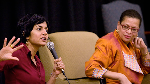 Simran Sethi (left) and Julianne Malveaux spoke at the Environmental Justice discussion.