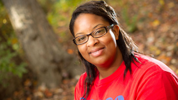 Senior Jessica Attucks, in the Wake Forest meditation garden, which was officially blessed in a ceremony led by the Native American Student Association (NASA) last spring. Attucks is president of NASA for 2010-11.