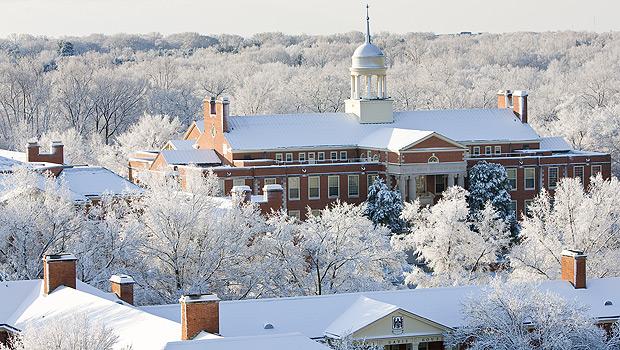 Snow across the campus