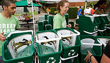 Recycling bins on move-in day