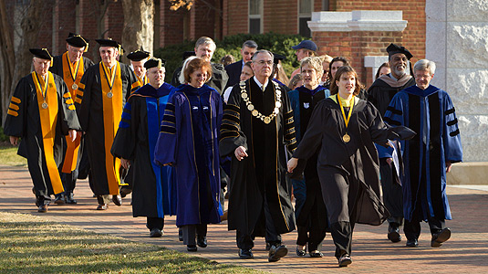 Walking to Founders' Day Convocation