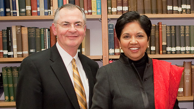 President Nathan Hatch and PepsiCo CEO Indra K. Nooyi