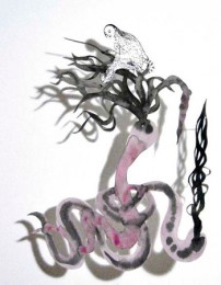 Mary Ting - Snake Girl, cut paper drawing