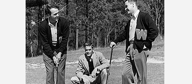Arnold Palmer (left) and his best friend, Buddy Worsham (right), under the watchful eyes of their coach, Johnny Johnston.