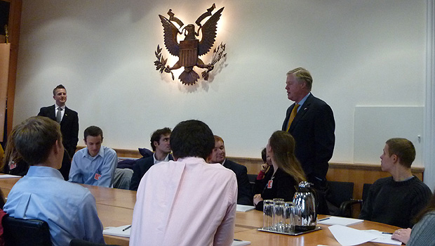 Business students meeting the ambassador