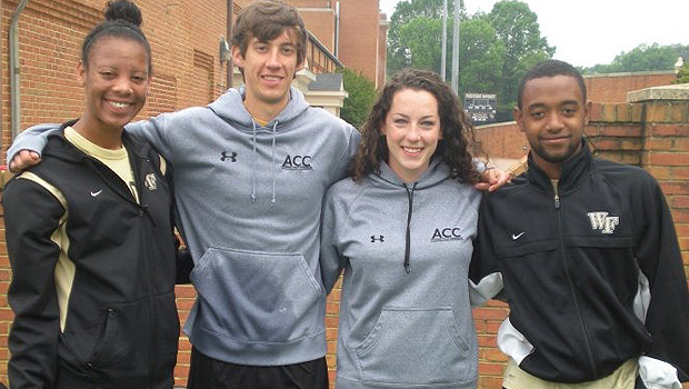 From left: Alisha Woodson (soccer), Paul Loeser (cross country), Michele Lange (track) and Nick Millington (former soccer) have been involved in AIA on campus and with the karaoke project.