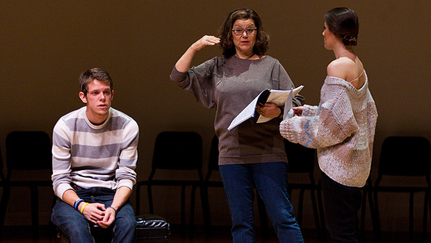 Broadway veteran Susan Terry (center) coaches students Jake Meyer and Brooke Saba.