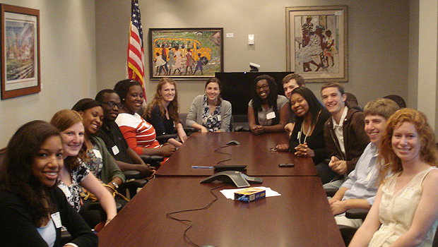 Wake Forest students visit the Democratic National Convention offices in Charlotte.