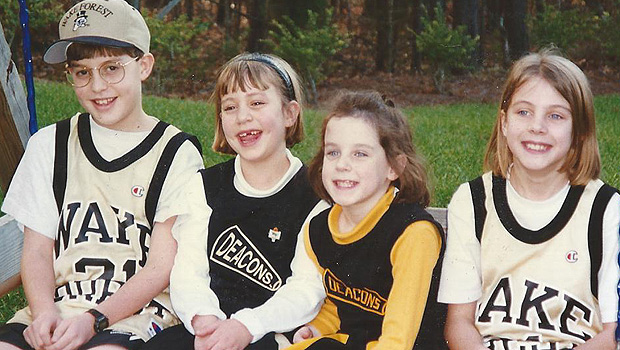 All of Linville and Mary Jon Roach's grandchildren continued the long family tradition of attending Wake Forest. From left to right: Davis and Emily Roach, Michelle and Allison Lange.