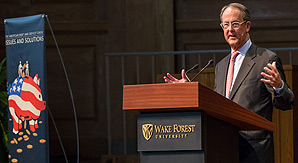 Erskine Bowles addresses the audience in Wait Chapel.