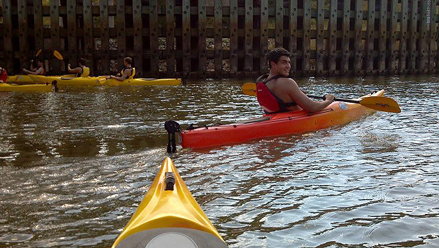 For senior Michael Locicero, kayaking in Eastern North Carolina is a far cry from his experiences at home in Long Island, N.Y. (Photo courtesy of Michael Scott)