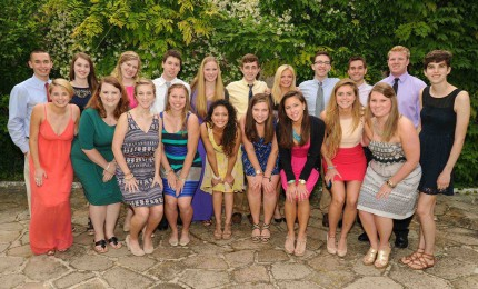 Wake Forest students gather in Casa Artom's courtyard for the Biennale reception.