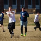 The Wake Forest Ultimate Frisbee team practices on Poteat Field.