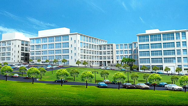 An artist's rendering of the new School of Medicine facility planned for the Wake Forest Innovation Quarter.
