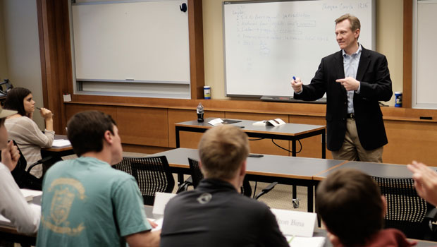 James Otteson, executive director of the BB&T Center for the Study of Capitalism and teaching professor, explores the moral role of business with his undergraduate students in Farrell Hall.