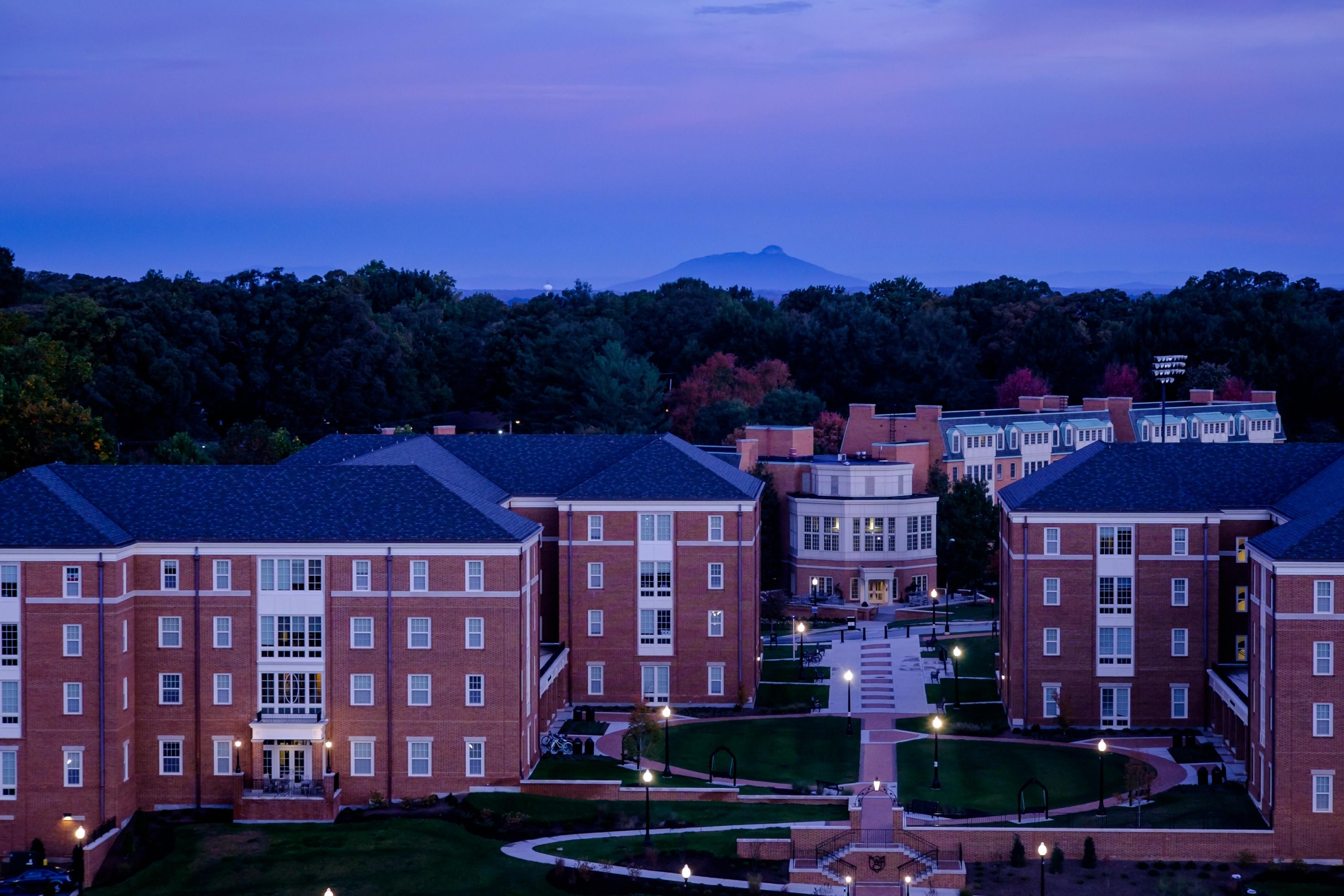 Dogwood (left) and Magnolia residence halls on the campus of Wake Forest University.