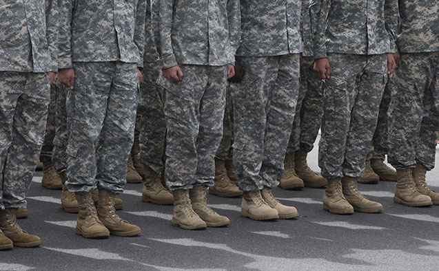 Military personnel assembled