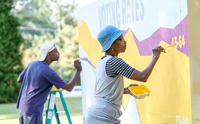 A mural being painted for Wake the Vote