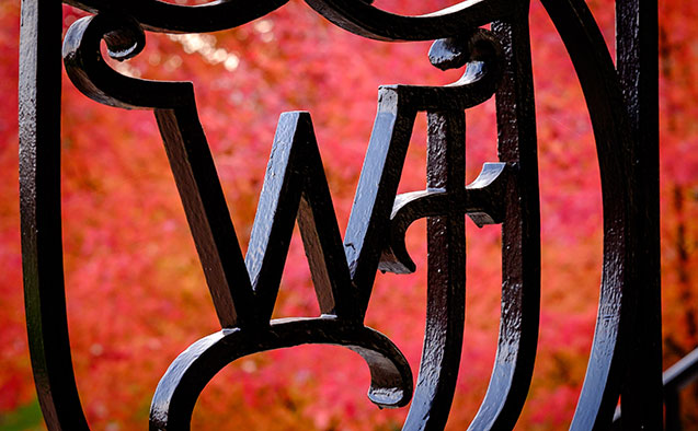 Wake Forest logo in wrought iron