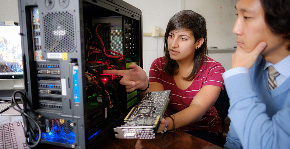 Zuniga (MS '17) talks with Cho about how a new high-speed video card will help her massively parallel processing projects.
