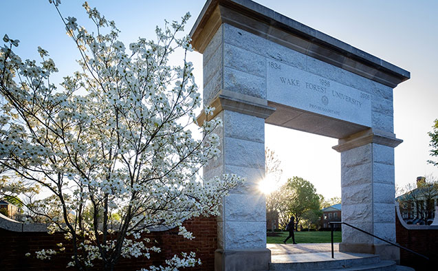 Archway on campus of WFU