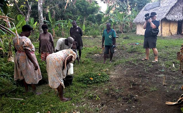 Wake Forest graduate student Scott E. Schimmel filming in Vanuatu