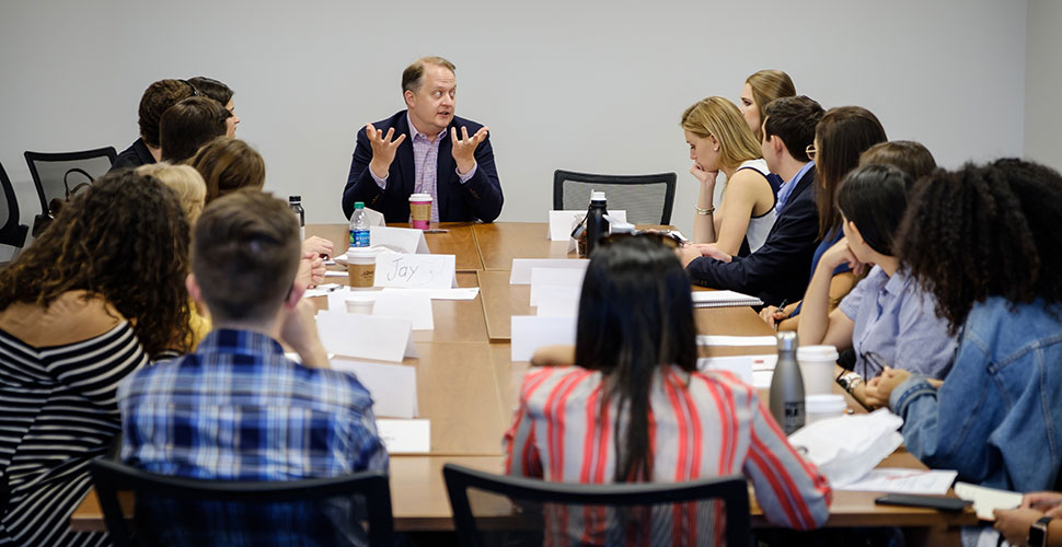 Shane Harris ('98), a reporter for the Wall Street Journal based in Washington, talks about his career with students.