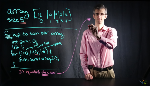 Dr. William Turkett demonstrates a potential use case for the Lightboard.