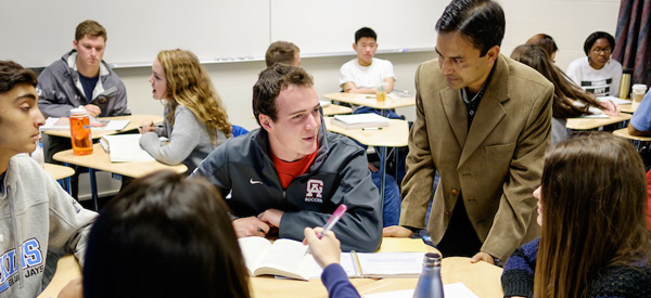 Wake Forest history professor Raisur Rahman teaches his Asian history class in Tribble Hall.