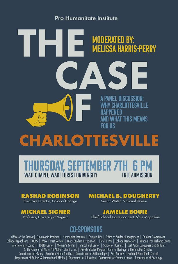 The Case of Charlottesville Panel will be held in Wait Chapel at WFU on September 7, 2017 at 6:00 PM.