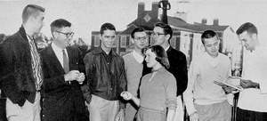 Pi Kappa Delta members 1957: Grubbs, Prof. Shirley, McDuffie, Peterson,  Thomas, Bentley, Hughes, Blackwell