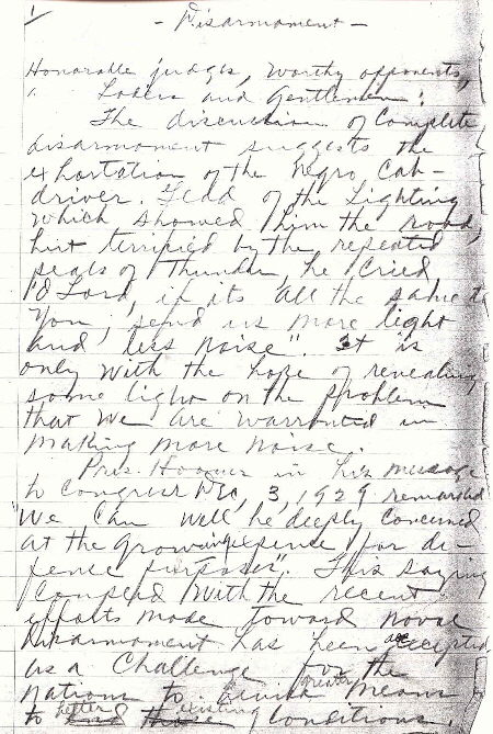 """First page of Zon Robinson's Speech for a debate on """"Disarmanent"""" with Wingate Jr. College in 1930. Before becoming coach Robinson debated as a Wake Forest College student."""