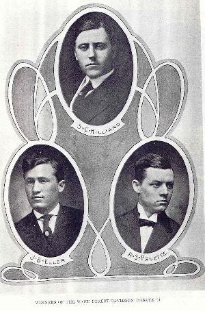 1911 Davidson Debaters S.C. Hillard, J B. Eller, R.S. Pruette