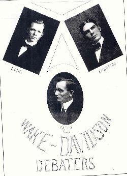 1912 Davidson Debaters Long, Chambers, Yates, Alt.