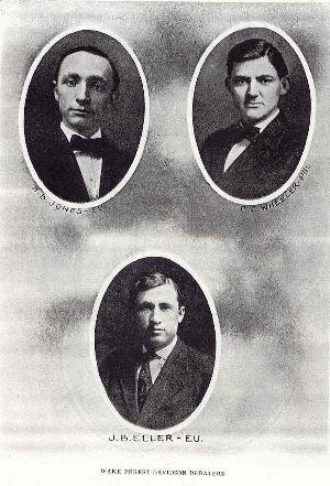 1910 Davidson Debaters H. B. Jones, C.C. Wheeler, J.B. Eller