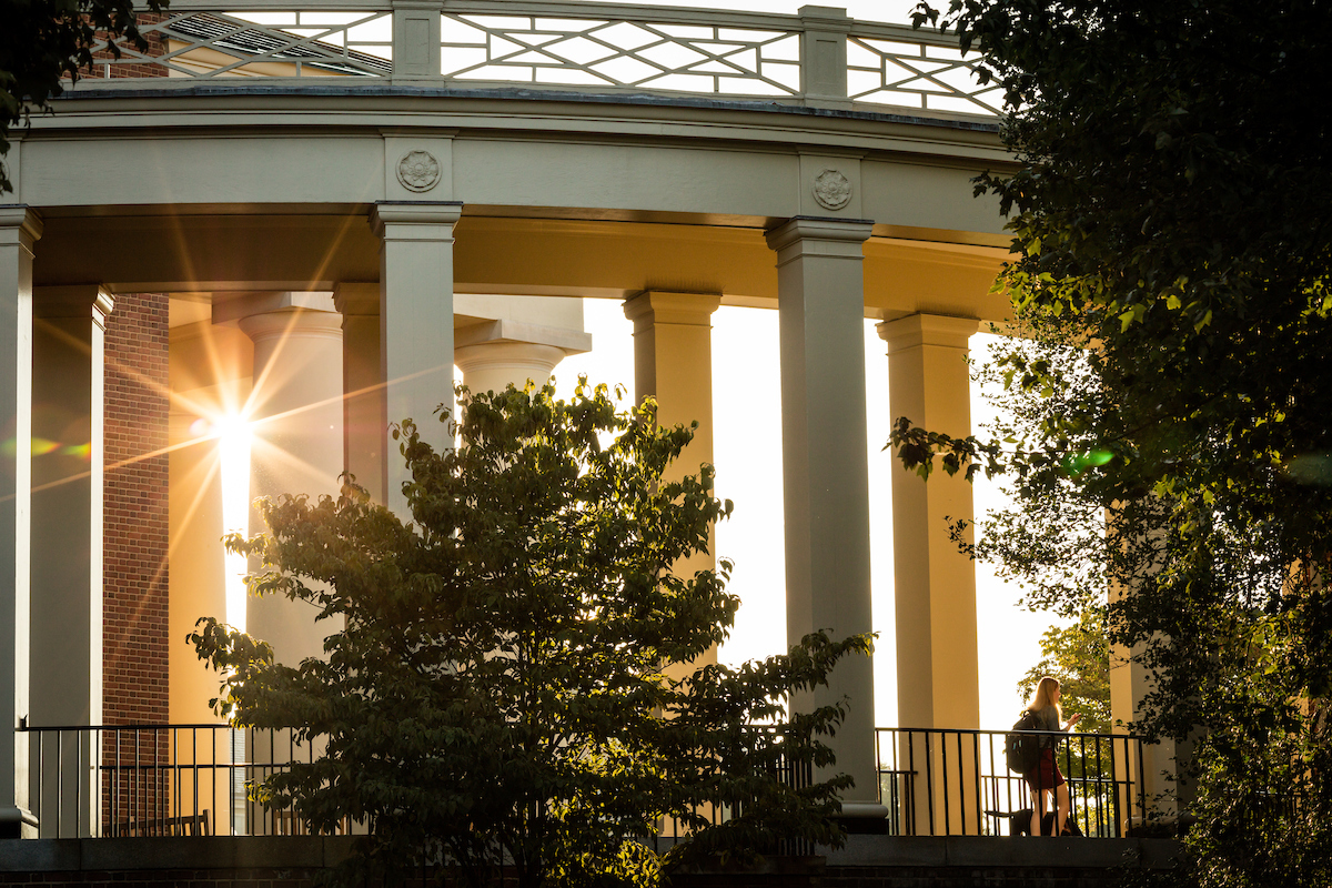 Wake Forest students enjoy a beautiful late summer morning as they walk across campus to class on Wednesday, September 9, 2015.