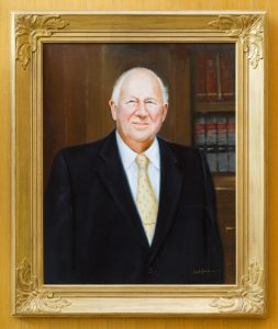 Porter Byrum's portrait hangs in the Byrum Welcome Center.