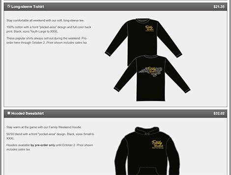 T-shirt ordering screen