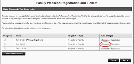 "To change your registration contact information, click <strong>""Information""</strong> next to the Primary Registrant's name."
