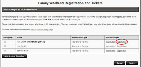"To add or remove items from your registration, click <strong>""Registration""</strong> to the right of an attendee's name."