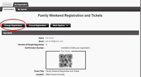 "To make changes to your order or the attendees in your party, click <strong>""Change Registration""</strong>."