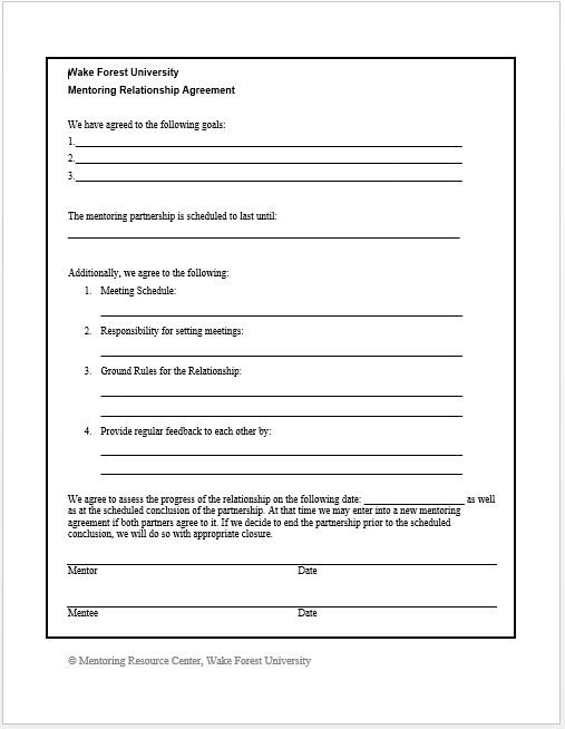 Mentoring Agreement Form