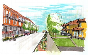 Architectural rendering of what the reborn city of Joplin might look like.