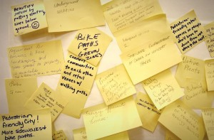 """Citizens submit ideas for a """"new and improved"""" Joplin on Post-it notes"""