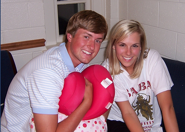 Webb Simpson and Dowd Keith, as students, during Webb's first week in his freshman dorm