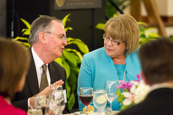 President Hatch with Jane Owens Cage ('78)