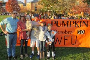 Libby Bell and her family: husband Tim Ryan and children Parker, Gray, Mattie and Davis enjoy Project Pumpkin