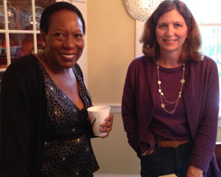 Jocelyn Burton ('80, WFU Trustee) and Amy Sanborn Owen ('83, parent).